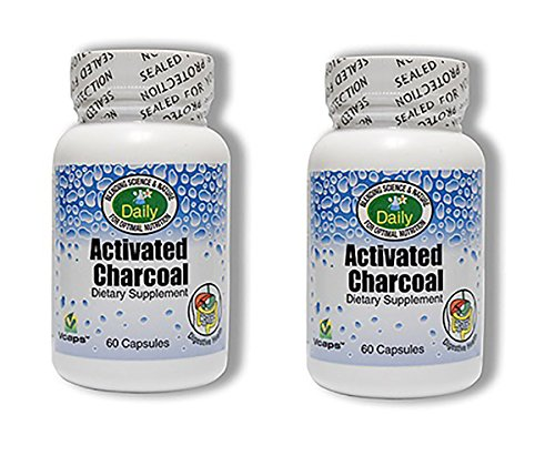 Daily Manufacturing Activated Charcoal 60 Veggie Capsules, 260 mg, 2 Pack ()