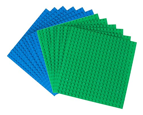 Strictly Briks Classic Baseplates 100% Compatible with All Major Building Brick Brands | Double Sided Stackable Bases | 12 Tight Fit Base Plates in Blue & Green 6.25