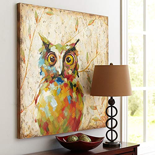 - UAC WALL ARTS 100% Hand Painted Animal Oil Painting Colorful Owl Canvas Art with Stretched Frame on Canvas Wall Art for Home Decor Ready to Hang 32x32Inch,Quirky Owl Art