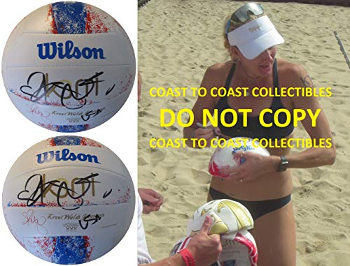 (Kerri Walsh Jennings, USA Olympic, Volleyball Player, Signed, Autographed, Logo Beach Volleyball, COA with the Proof Photo will be included)