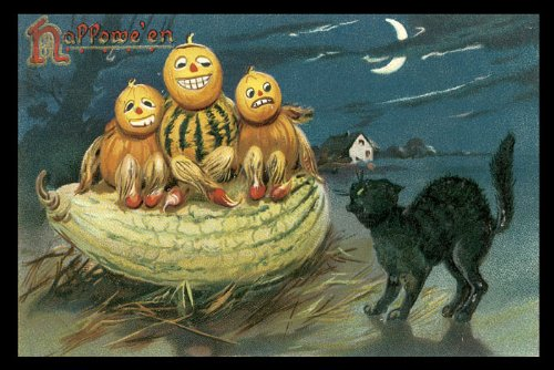 HALLOWEEN SCARED PUMPKINS BLACK CAT FARM MOON 12