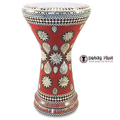 Gawharet El Fan 18.5'' Red Lava NG Sombaty Mother of Pearl Darbuka Doumbek Drum by Gawharet El Fan