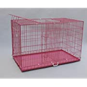 Triple Door Folding Metal Dog Crate with Metal Pan