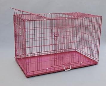 """Mejor mascota rosa 55 """"triple-door maleta estilo plegable perro caja de metal"""