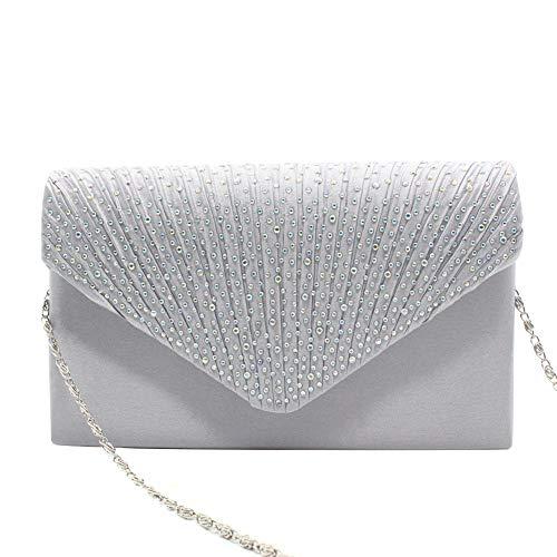 diamant soirée Dreneco de avec à Sac pour femme Argent Mariage Sac main enveloppe de 8q8xgPS