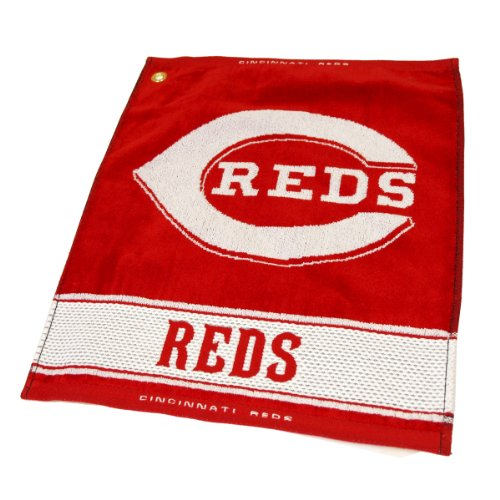 "Team Golf MLB Cincinnati Reds Jacquard Woven Golf Towel, 16"" x 19"", 100% Cotton, Attach to Golf Bag with Corner Hook"