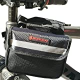 Bike Frame Bag , Front Top Tube Pouch Triangle Saddle Canvas Pannier Basket Mountain Bicycle Cycling Beam Packages Black