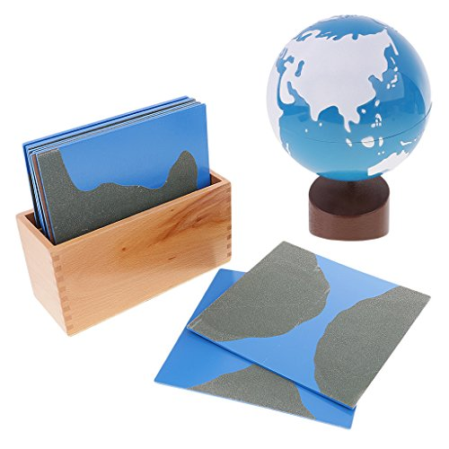 Dovewill Kids Child Montessori Educational Toy-Globe of Land&Water w/ Geography Cards