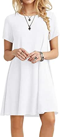 POPYOUNG Women's Casual Summer Dresses Tshirt Beach Dress Small, White