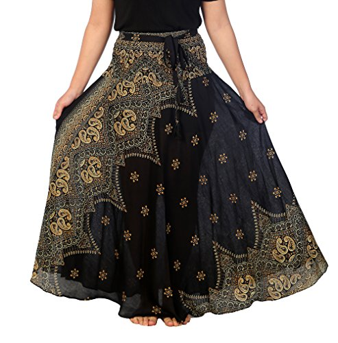 Lannaclothesdesign Women's Long Maxi Ankle Lenght Skirt Boho Skirts (One Size, Black Peacock Flower) (Hippie Womens Outfit)