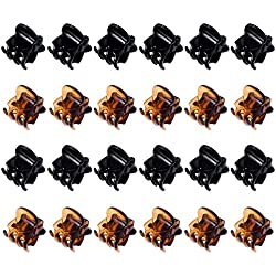 Hotop 24 Pieces Mini Hair Clips Plastic Hair Claws Pins Clamps for Girls and Women (Black and Brown)