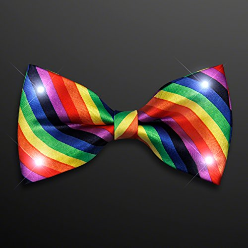 Set of 12 Rainbow Stripes Bow Tie with White LED Lights