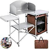 8. VBENLEM Camping Outdoor Kitchen 2-Tier Camping Kitchen Table with Zippered Bag Camping Table 2 Side Tables Camp Cook Table Portable Outdoor Camping Table for Outdoor Activities Brown Color
