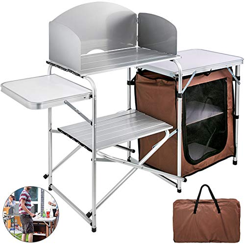 VBENLEM Camping Outdoor Kitchen 2-Tier Camping Kitchen Table with Zippered