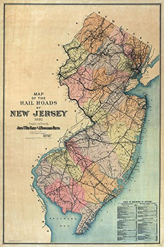 MAP of NEW JERSEY circa 1887 - measures 36