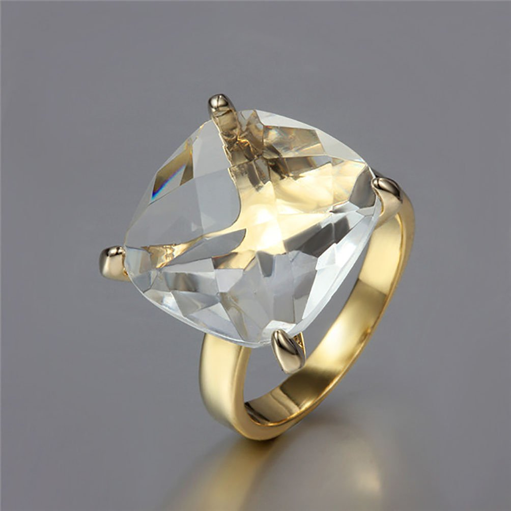 Suerhai Irregular Hollow Golden Ring Studded With A Large Beautiful Glass Cutting