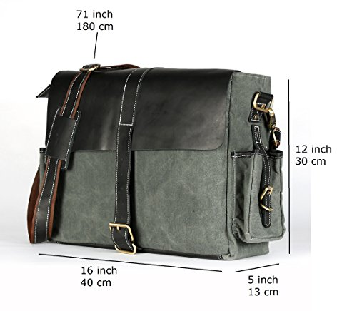 Decorlives Great Bag Leather Large Dark Genuine Bag Messenger Design Shoulder Canvas Grey 100 RRqx0vr