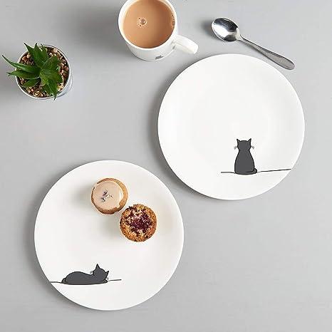 Jin Designs - Juego de dos platos de porcelana fina china con gato sentado y gato