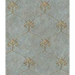 Chesapeake ARS26163 Tuscan Shimmering Ogee Wallpaper, Blue
