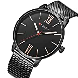 TREEWETO Men's Slim Mesh Wrist Watch Roman Numerals Black Band Bisiness Dress Watch