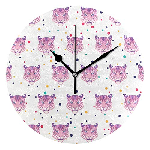HCMusic Round Pink Tiger Wall Clock- Non Ticking Digital Quiet Sweep Clock, Decorative for Office Living Room Bedroom, 10 Inch ()