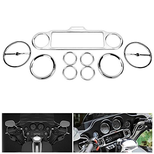 ECLEAR 9Pcs Chrome Gauges Bezels Stereo Accent Trim Ring Horn Cover for Harley Davidson Street Electra Glide Ultra Classic Touring 1986-2013