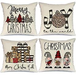 Christmas Farmhouse Home Decor AENEY Christmas Pillow Covers 18×18 Set of 4, Buffalo Plaid Stripe Tree Gnome Rustic Winter Holiday Throw Pillows… farmhouse christmas pillow covers