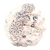 Abbie Home Advanced Customization Romantic Bride Wedding Holding Toss Bouquet Rose Pearls Rhinestone Decorative brooches Accessories-Multi Color Selection (Beige)