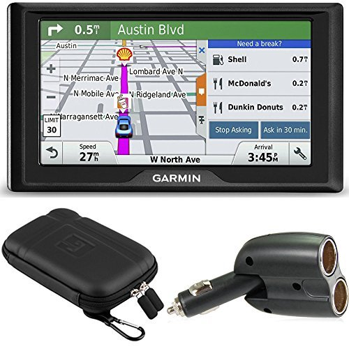 Garmin Drive 50LM GPS Navigator Lifetime Maps (US) 010-01532-0C Case + Charger Bundle includes GPS, 5-inch Soft Case and Dual 12V Car Charger