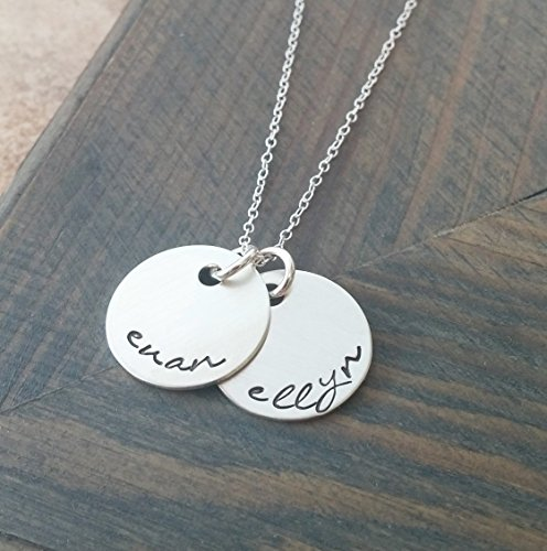 Hand Stamped Jewelry // Personalized Necklace // Necklace with Kids Names // Sterling Silver Disc -