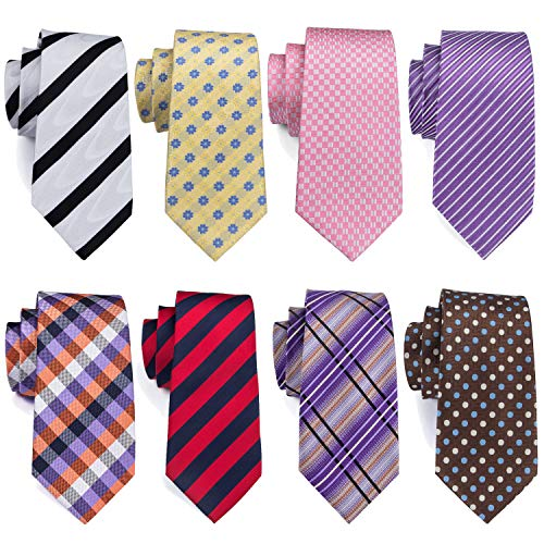 Barry.Wang Mens Tie Lot Purple Pink Brown Red Necktie 8 Pack Silk Tie