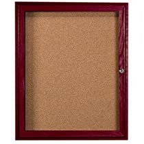 Enclosed Wall Mounted Bulletin Board Frame Color: Walnut Stain, Number of Doors: One, Size: 24