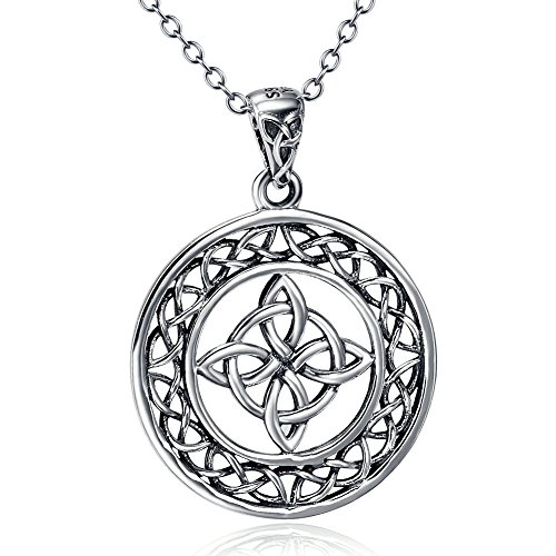 YFN Sterling Silver Celtic Good Luck Knot Round Medallion Pendant Necklace 18