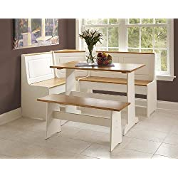 Ardmore Wood Corner Nook Set - Natural & White (Table, Bench & Corner Seat)