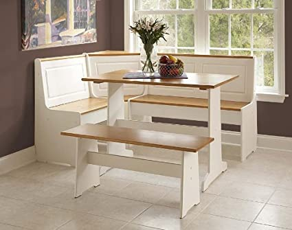Ordinaire Ardmore Wood Corner Nook Set   Natural U0026 White (Table, Bench U0026 Corner Seat