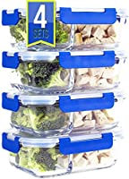 [LARGER PREMIUM 4 SET] 2 Compartment Glass Meal Prep Containers