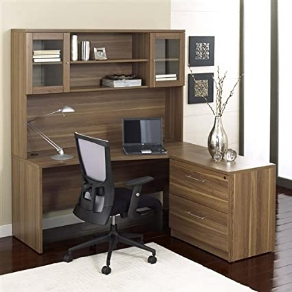 amazon com modern walnut 63 desk with hutch lateral file rh amazon com modern executive desk with hutch modern writing desk with hutch