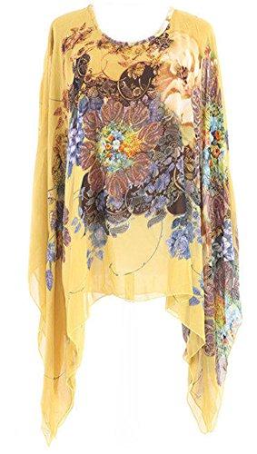 Uplife® Women's Loose Batwing Sleeve Tops Flower Bohemian Chiffon Blouse T Shirt Tops (One Size, Yellow) (Flutter Sleeve Plus Tops)