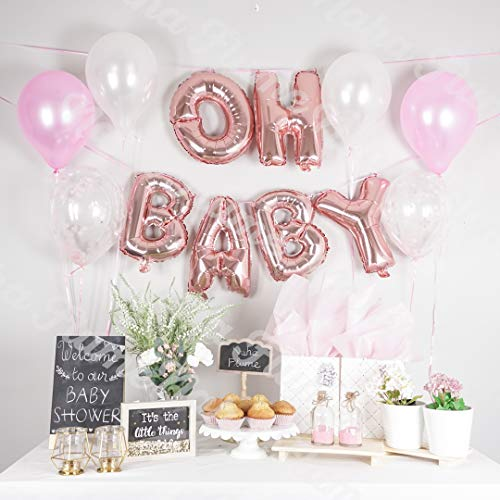 Baby Shower Decorations for Girl | 16 OH Baby Balloon Letters (Rose Gold) | Girl Baby Shower Balloons. (Pack of 12) (Pink, Confetti, White)