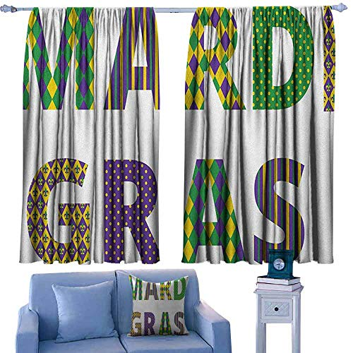 Mardi Gras Window Shades Lettering with Traditional Patterns Dots Checkered Motif Lily Flowers,Curtains Print for Bedroom,W55 x L45 Inch