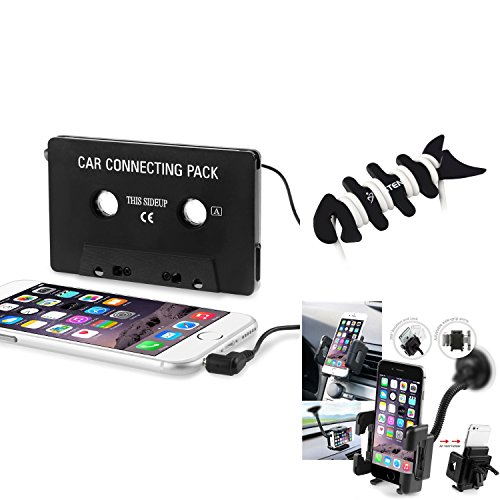 (Insten Music Cassette + Holder + Wrap compatible with Apple iPhone 8/8 Plus/X/ 7/7 Plus/ 6S/ 6S Plus, Samsung Galaxy S7 Edge/ S7/ S4 III i9300 i9500 N7100/S9/S9+ Plus)