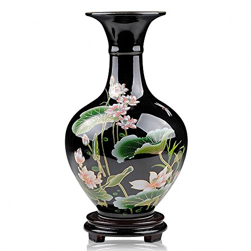 Chinese Traditional Lotus Flower Black Glaze Ceramic Decorative Vase, Ideal GIFT for Weddings, Party,Home Decor