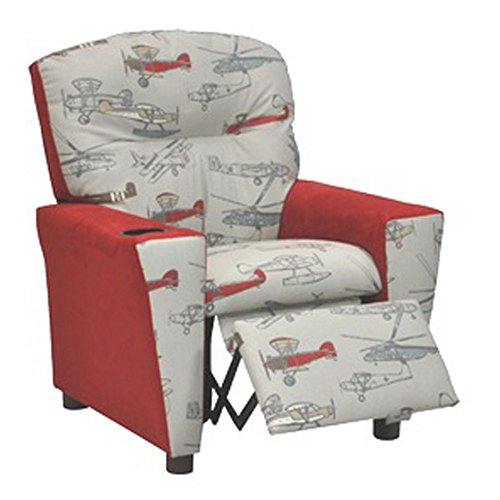 Kidz World Vintage Airplanes Kid's Recliner with Cup Holder, Red Suede by Kidz World