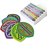 Set of 6 Colourful Retro Swimming Distance Award Badge Coasters by Studio Starling – Novelty Silicone Coasters for Drinks That Brings Back The Vintage Old-School Look While Protecting Your Tabletop.