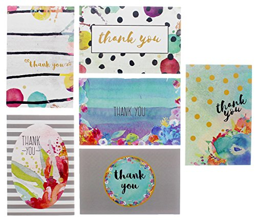 48 All Occasion Thank You Cards Flowers Bulk Assortment - 6 Floral Designs - Blank on the Inside - Includes 48 Envelopes 4 x 6 inches