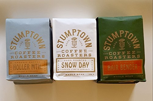 Stumptown Coffee Roasters Full Beans, HOLLER MTN. Organic, SNOW DAY & Hair Bender, Winter Trio, Direct Trade12oz EACH Bag ~Fresh Roasted in Los Angeles California