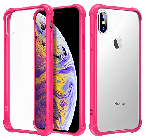 MoKo Compatible with iPhone X Case/iPhone 10 Case, Crystal Clear Reinforced Corners TPU Bumper, Anti-Scratch Rugged Transparent Hard Panel Cover Fit with Apple iPhone X 2017 - Magenta