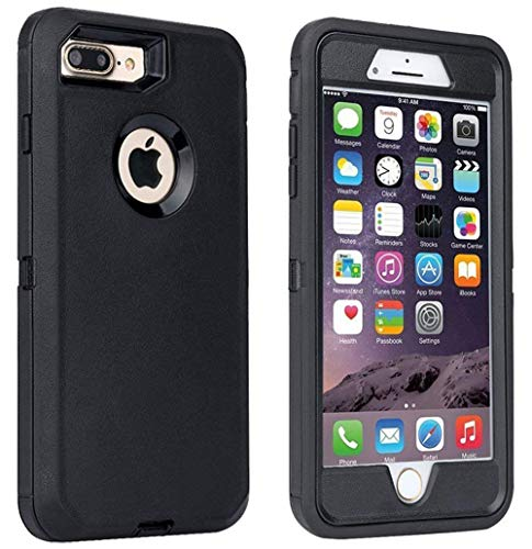 iPhone 7 Plus Case, iPhone 8 Plus Case, [Heavy Duty] Built-in Screen Protector Tough 4 in1 Rugged Shorkproof Cover [with Kickstand] for Apple iPhone 7 Plus (Black)