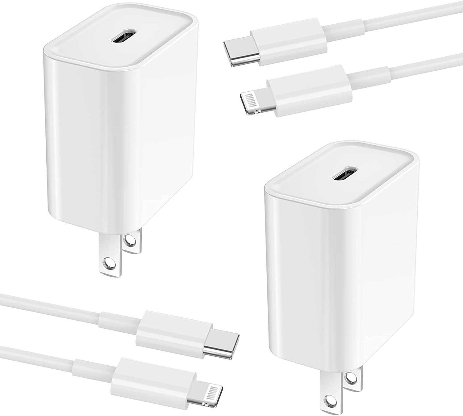 [Apple MFi Certified] iPhone Fast Charger, Assrid 2-Pack 20W Type C Power Delivery Wall Charger Travel Plug & 6FT USB C to Lightning Quick Charge Sync Cable for iPhone 12/11/XS/XR/X 8/iPad/AirPods Pro