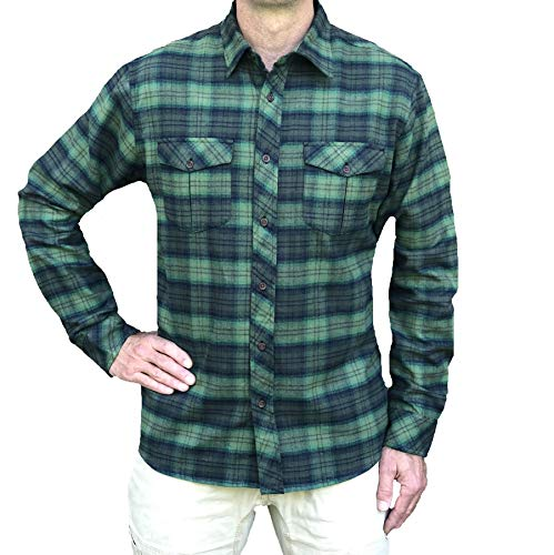 Inland Pacific Men's 5 oz Cotton Flannel Shirt, 2 Chest Pockets with Pleats Olive/Greenery Large (Flannel Oz Shirt 5)
